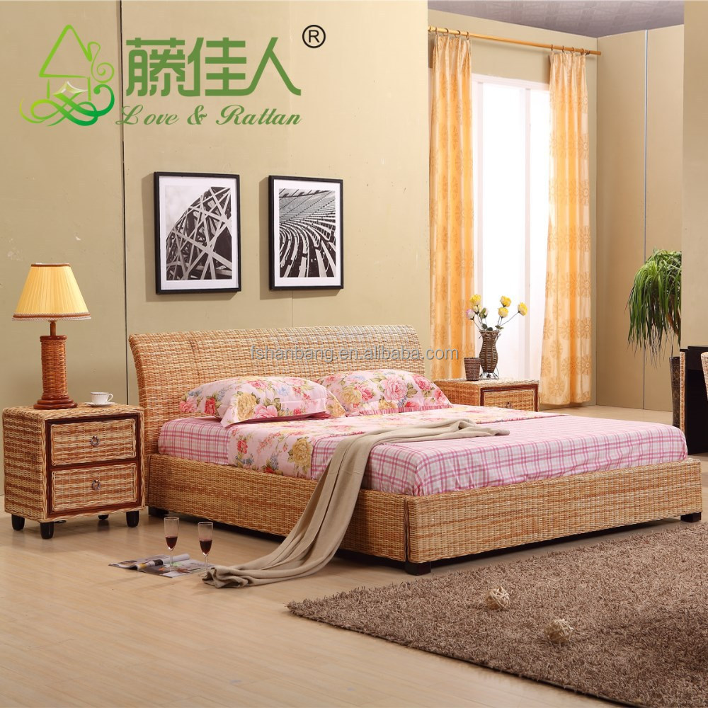 Latest double bed designs Natural Rattan Bed Sets Double French rattan bed