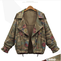 Women Jacket Coat Army Green Floral Bomber Jacket Patched Rivet Design Loose Flight Jackets Casual Coat