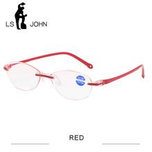 LS JOHN, очки для чтения без оправы с защитой от синего излучения, для женщин и мужчин, TR90, ультралегкие аметаболические Компьютерные очки для п...(Китай)