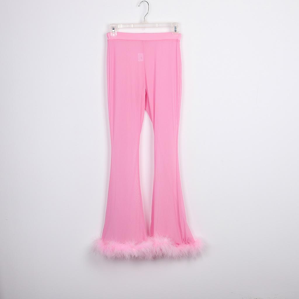 Прозрачный комплект из двух предметов, укороченный топ и брюки, комплект для женщин, эластичный облегающий костюм для вечеринки, перьевая с...(Китай)