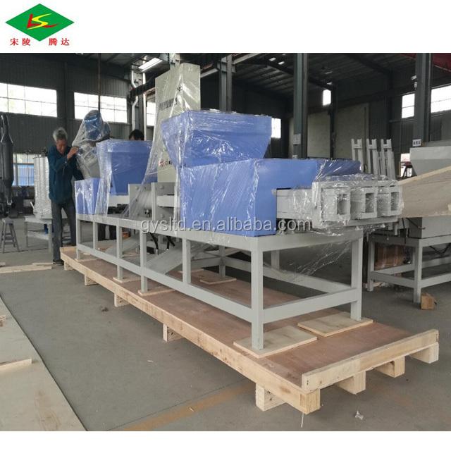 2018 Full automatic 4head press wood pallet block making machine with glue binder