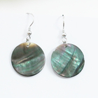 Fashion 925 sterling silver paua mother of pearl shell earrings