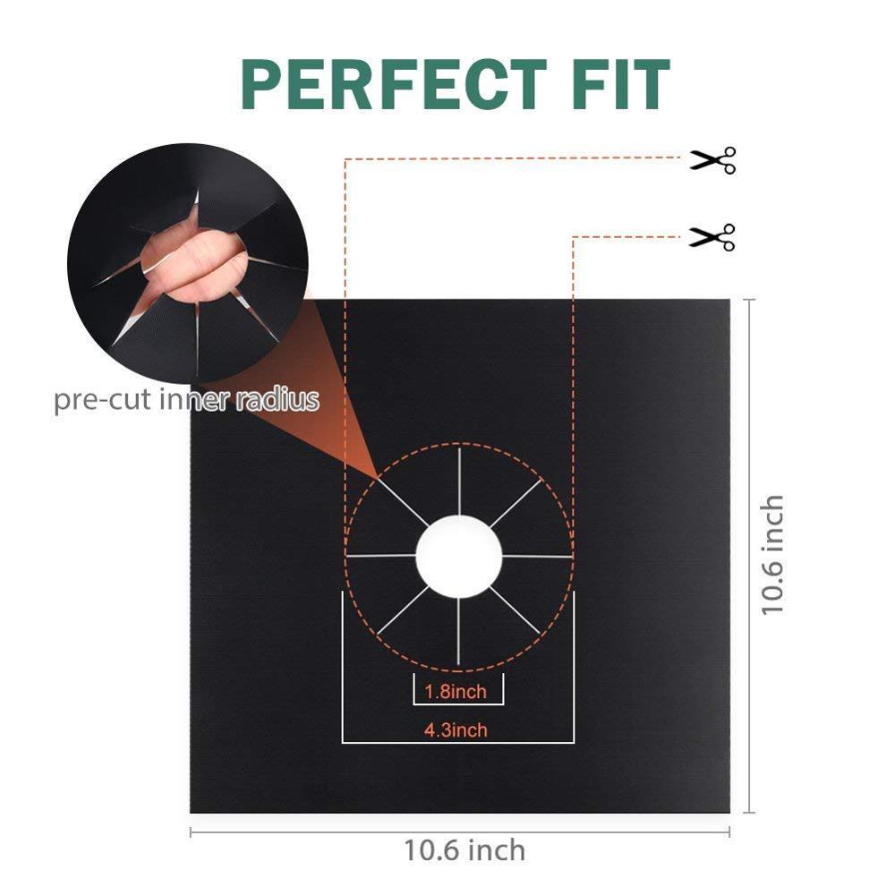 4Packs 27cmx27cm Black Gas Hob Range Protectors Non-Stick Reusable Stovetop Burner Liner
