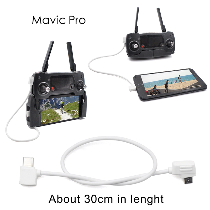 Android USB Micro B to Type C Lightning Micro USB Data Cable for DJI Mavic 2 Pro Zoom Air Spark Drone Controller Accessories
