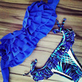 2016 Blue Fringed Draped Ruffle Bikini Strapless Swimwear Sexy Bikinis Swim suit for women Swimsuit