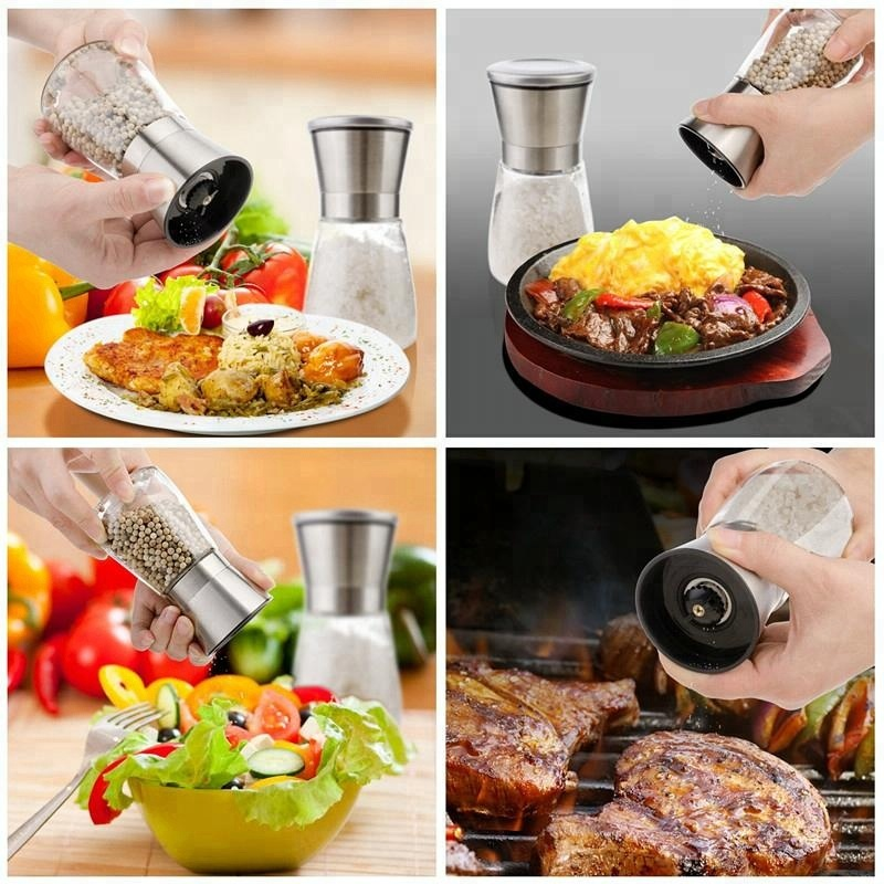 Set of 2 Salt and Pepper Grinder 150ml Spice Shakers with Stand and Brush