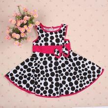1 6Y Cute Baby Kids Girl Summer Dress Polka Dot Sleeveless Cotton Dress