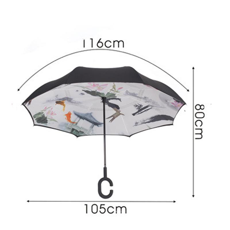 Creative Reverse Umbrella Windproof Reverse Folding Double Layer Umbrella  Self Stand Inside Out Rain C-Hook Hands For Car - us338 2e5acc11a436