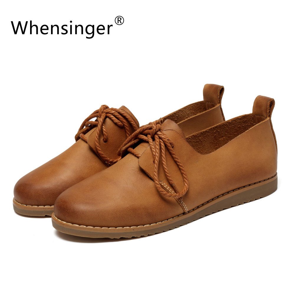 5c726eb59a31 Whensinger 2016 Spring Autumn Women Flats Full Grain Leather Rubber Outsole  2 Colors Lace-Up