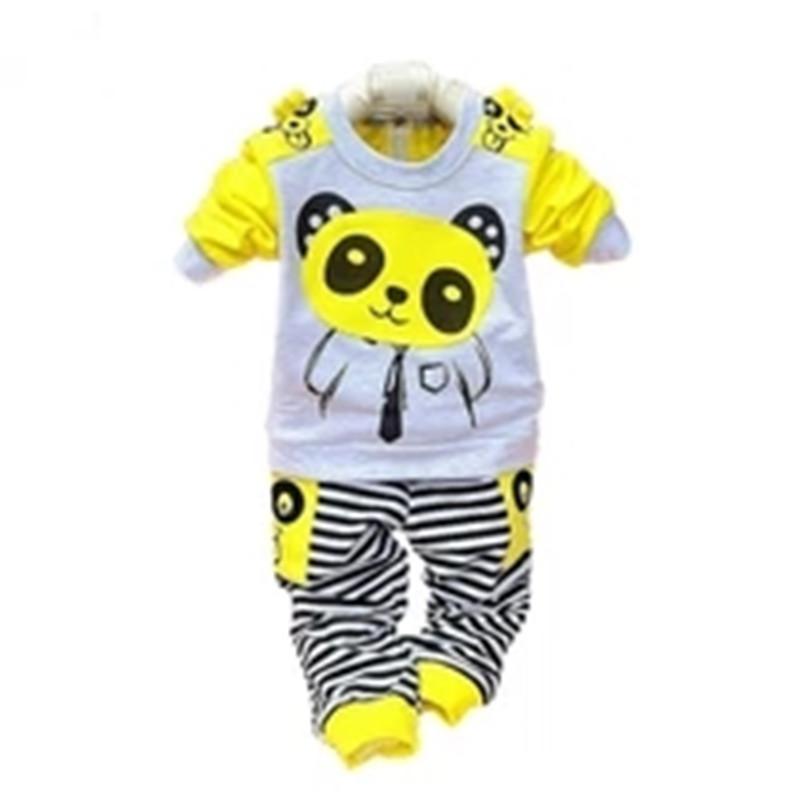 2014 Spring baby sets cartoon Panda velvet set twinset long sleeve hoodie pants children clothing set