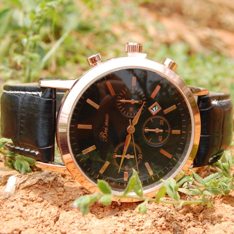 Лето роскошь мужчины кожа ремешок часы марки известный военный с 6 цветов коричневый золото аналоговый япония MOVT