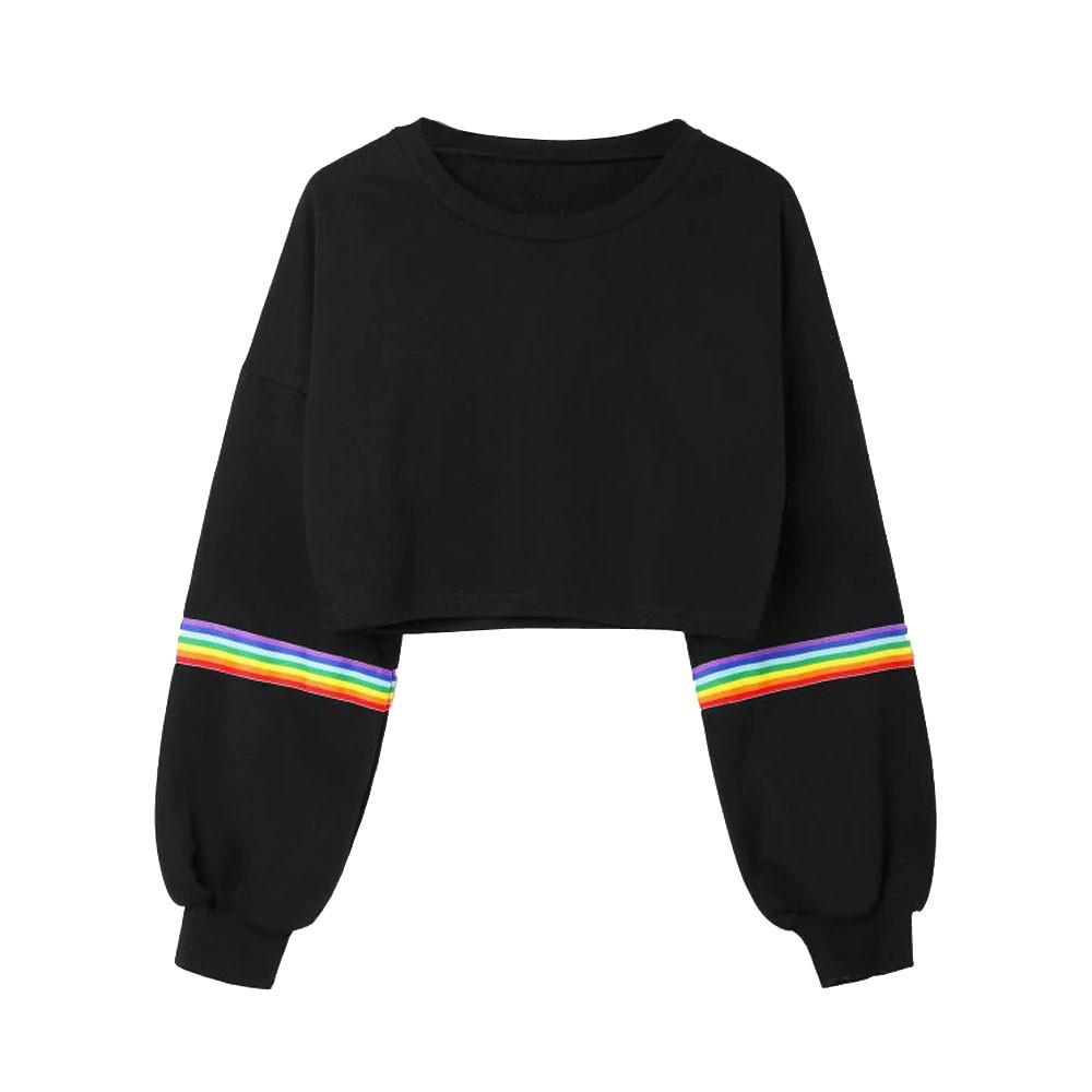 Sudadera a rayas de arco iris para mujer, jersey de manga