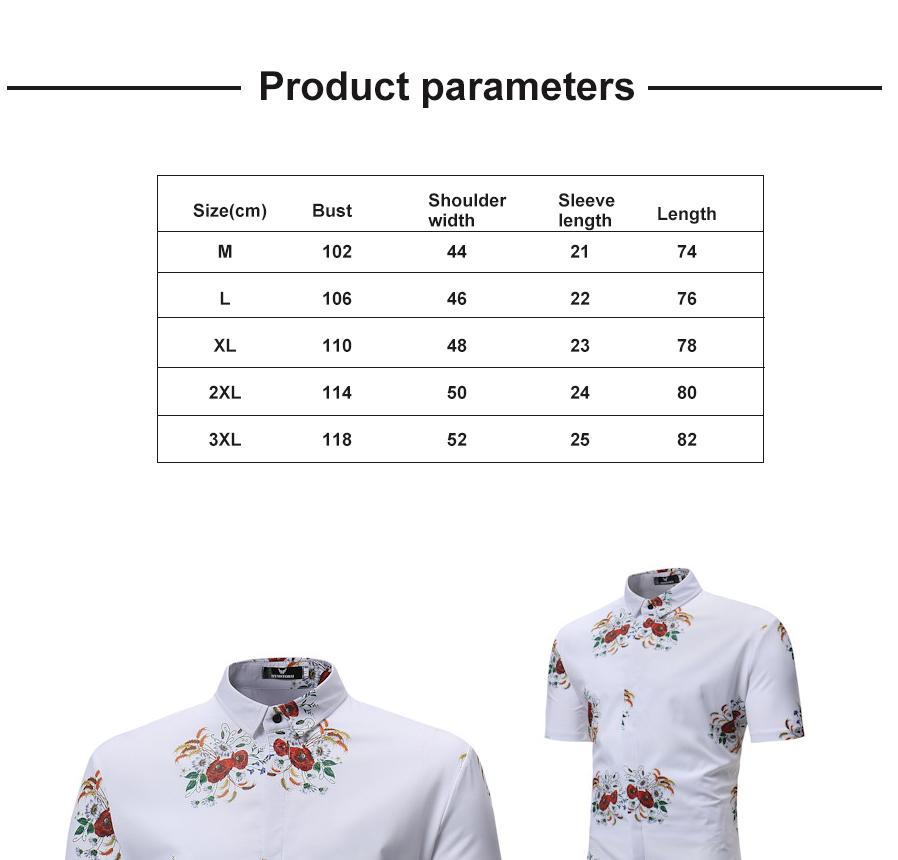 476505e3 mote menns hawaiian skjorte korte ermer topper casual blomst print ...