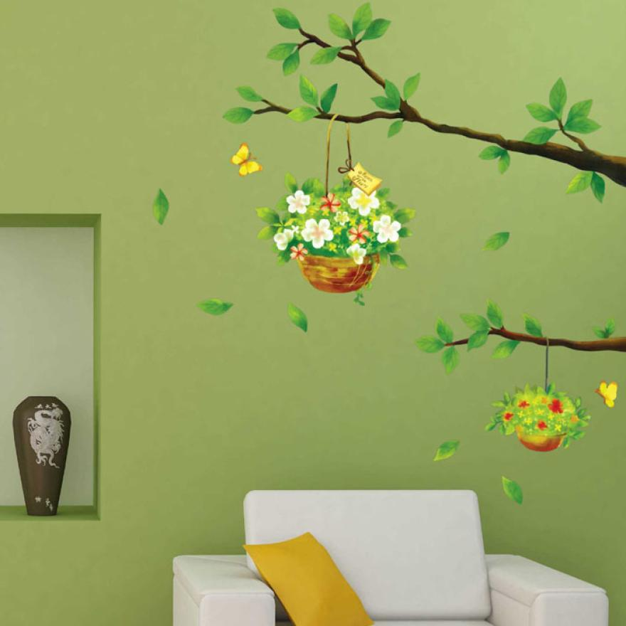 Mosunx Business   Fresh Nature Bough Flowers Basket Wall Sticker Decal Removable PVC Wall Sticker Home Decor