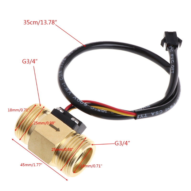 Water Flow Sensor Switch,G1//4in Male Thread PP Plastic,Water Flow Control Switch,for Fast Electric Water heaters