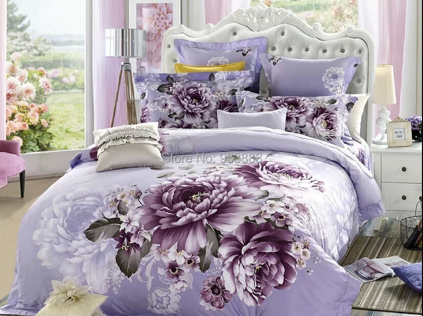 full queen size 3d 4pieces bed sheet set 5pieces comforter sets bed in a bag cotton purple. Black Bedroom Furniture Sets. Home Design Ideas