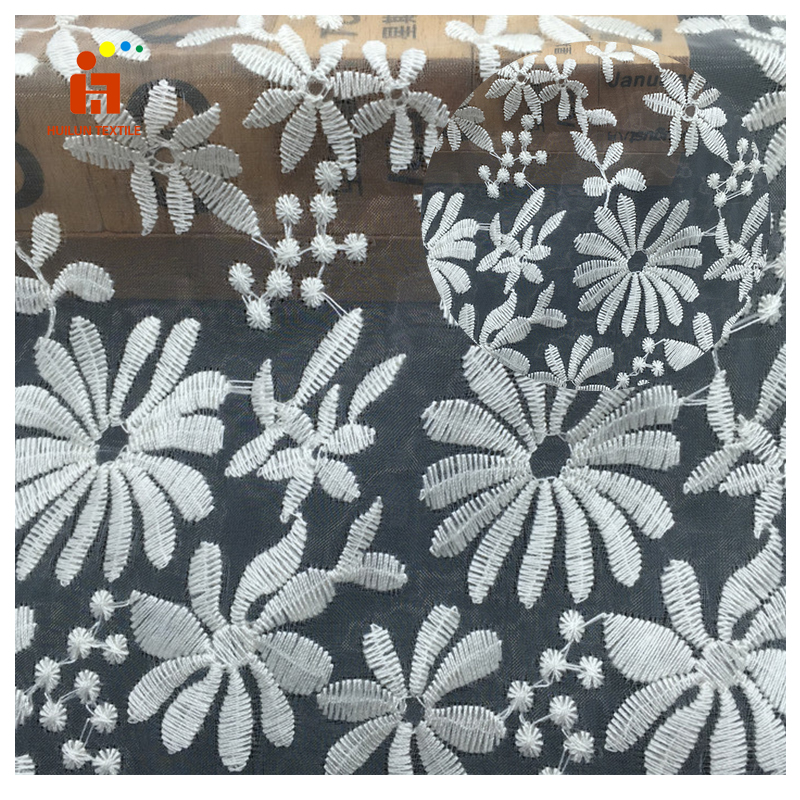 Zhejiang textile plain dyed white lace wintersweet flower bridal fabric embroidered net fabric