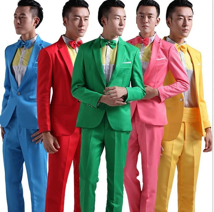 5 Color M L Xl Xxl Two Piece Suit Men Set Red Yellow Blue Green Pink Hosted Theatrical Tuxedos For Men Wedding Prom Wear E7552 Buy Mens Wedding Tuxedo Korean Tuxedo For
