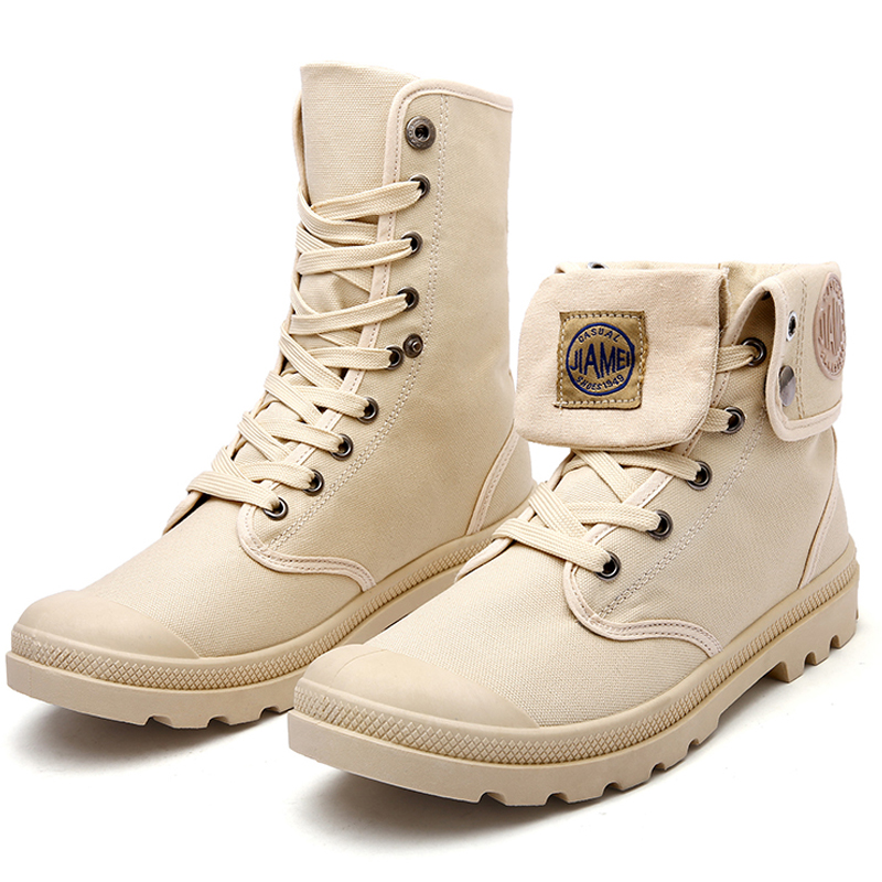 High Top Solid Color Lace Up Skidproof Durable Sole Fashion Shoes Men Boots