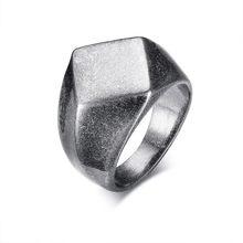 Разноцветное кольцо-печатка для мужчин из нержавеющей стали с квадратным плоским верхом, персонализированная гравировка, мужские ювелирны...(Китай)