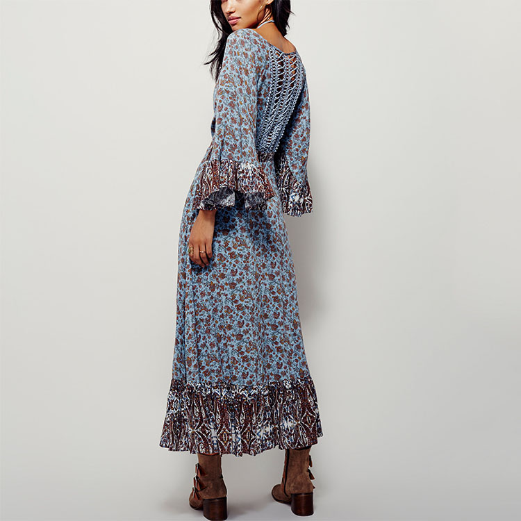 Женские шифоновые платья макси с цветочным принтом и рукавами-колокольчиками