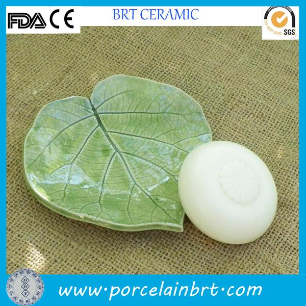 Leaf shaped handmade ceramic soap dish
