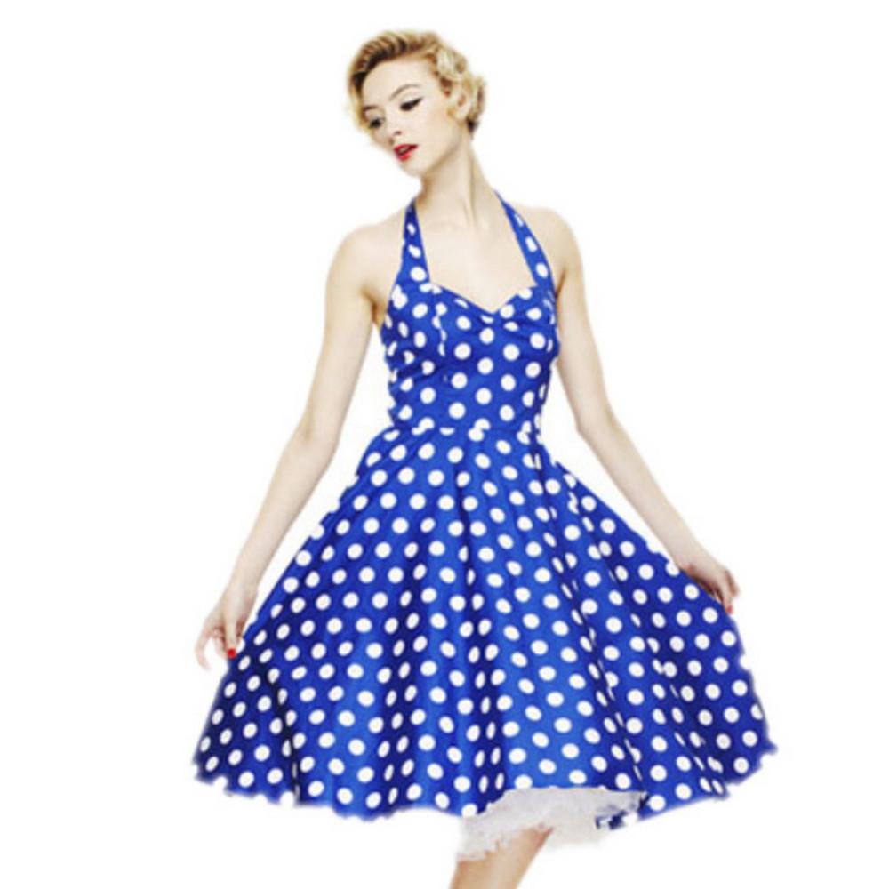 eda93afbd3e6 Vestidos estilo Al por mayor-Verano Retro Audrey Hepburn Vestidos Mujeres  Vintage 50s 60s Vestido Big Swing Polka Dot Backless Rockabilly Plus Size