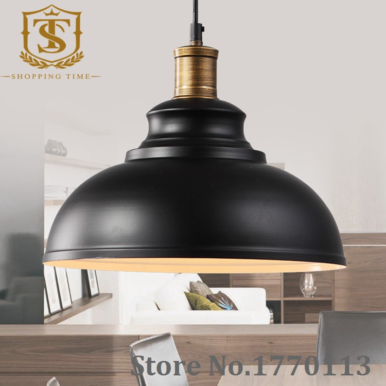 cheap ikea retro iron pendant lamp industrial black and white shade hanging lights for home. Black Bedroom Furniture Sets. Home Design Ideas