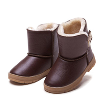 Size 26-30 Children waterproof boots boys and girls thickened cotton shoe kids leather warm snow shoes