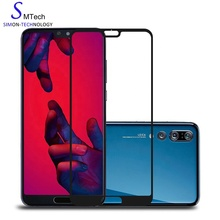 Bubble free 9 H 실크 printed 강화 (gorilla glass) screen protector 풀 헬멧에서 범위의 대 한 Huawei P20 Pro