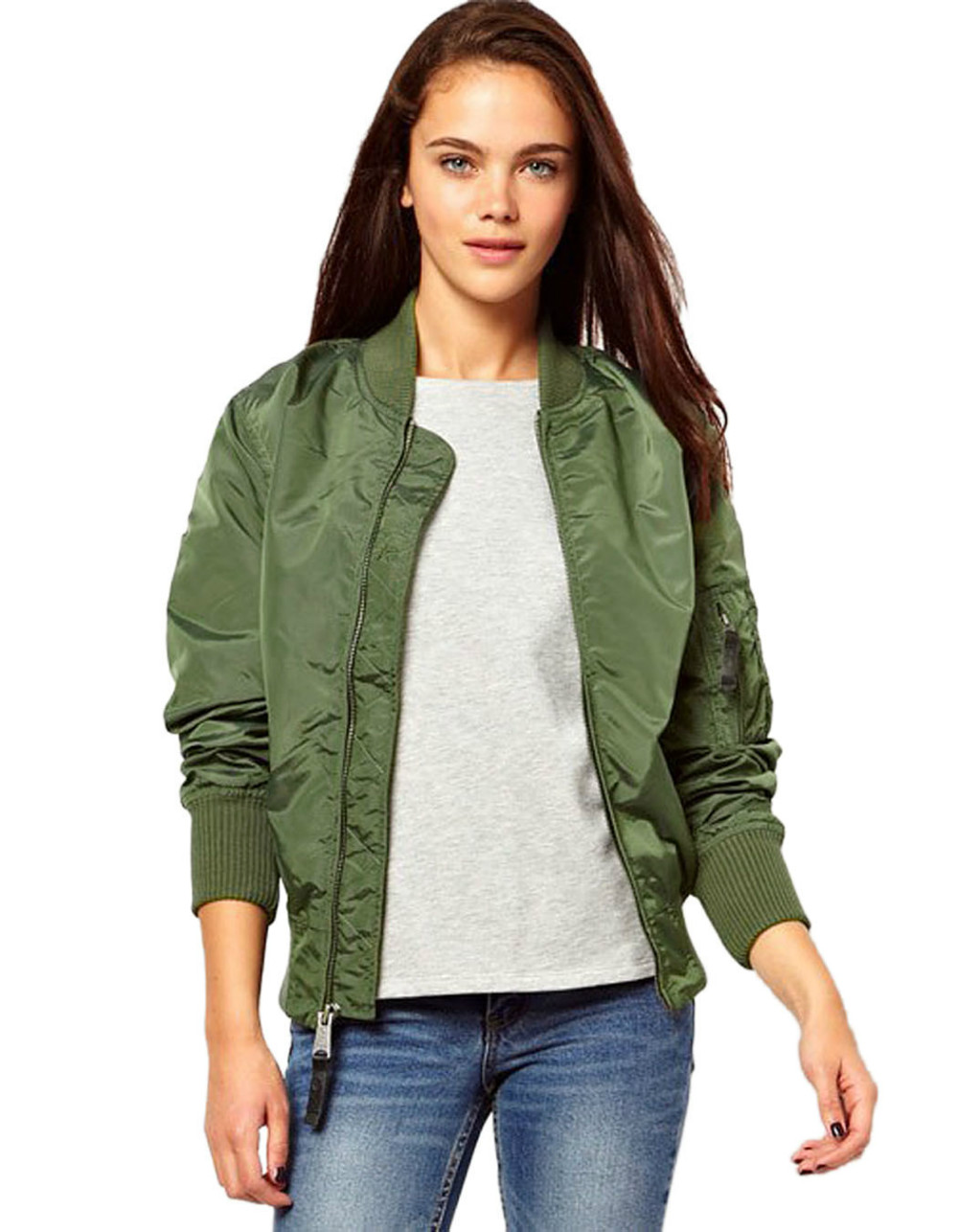 Women army green jacket