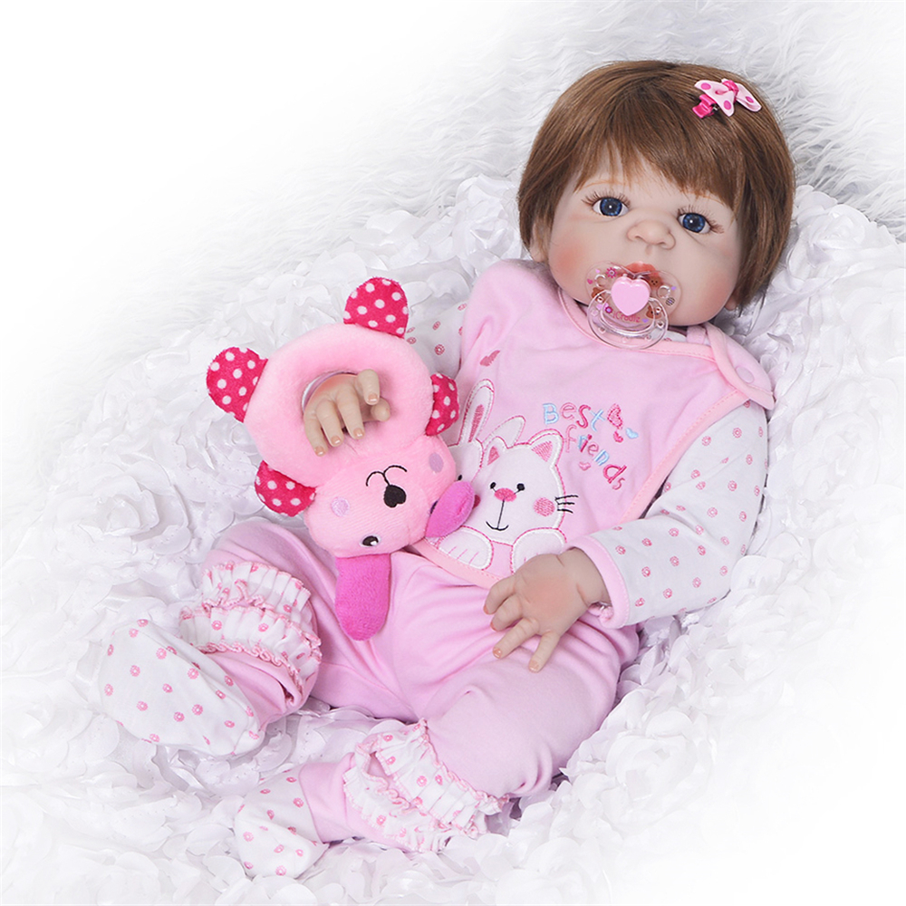 M-power 22 Inch Soft Mohair Cotton Body Silicone Reborn Babe Doll Toys Newborn Dolls Kids Bedtime Accompany