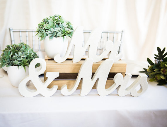Mr And Mrs Large Wooden Letters: Mr Mrs Wedding Table Signs For Sweetheart Table Decor