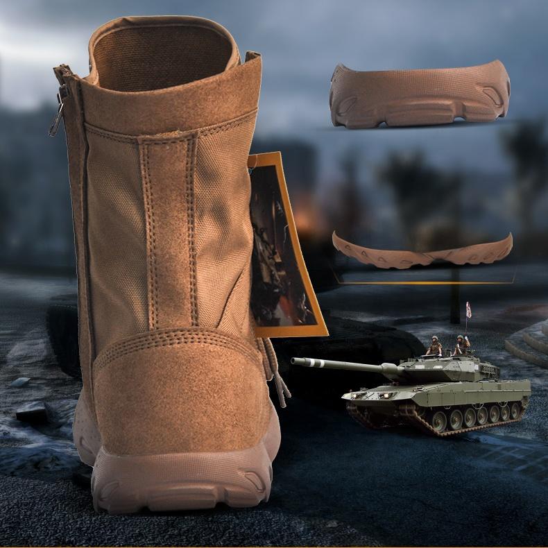 Заводская поставка прочные дышащие Нескользящие супер легкие на молнии коричневые кожаные военные боевые ботинки уличные походные ботинки
