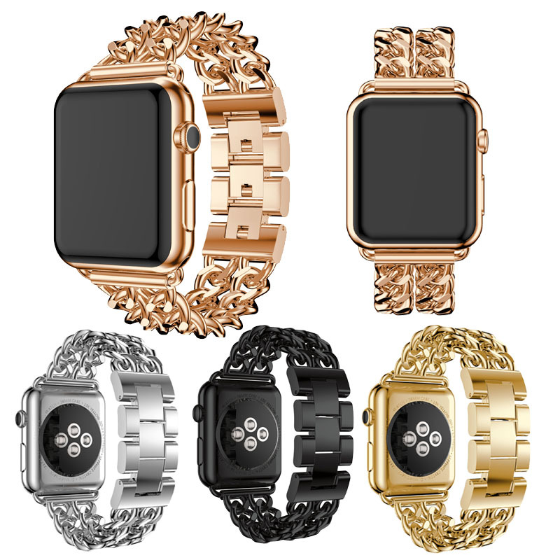 For Apple Watch Band Loop Bracelet Metal Strap Luxury Smartwatch Metal Band Stainless Steel Watch Chain Band Strap