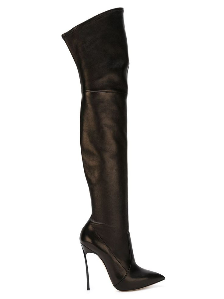 d516b7cfa6f New Black Suede&Leather Thigh High Boots Spiked Metal High Heels Over Knee  Boots Designer Autumn Botas Femininas Shoes Woman