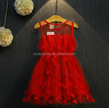 YY BD0756 red flower baby girl summer dress baby dress cutting baby frock