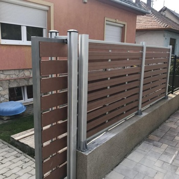 New design wpc coextrusion garden fence with electric driveway gate electronic sliding door