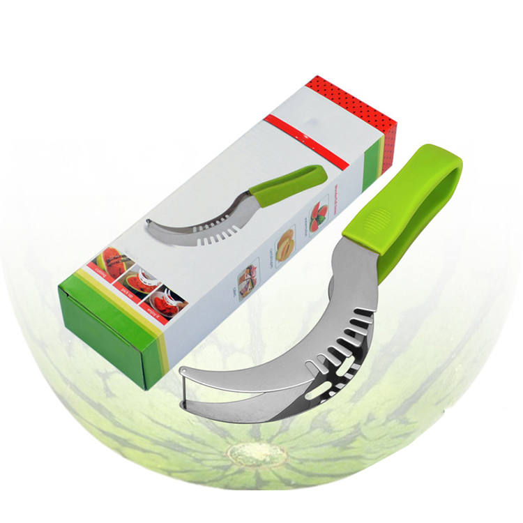 Лидер продаж Amazon, многофункциональная ложка для резки арбуза из нержавеющей стали, 2 комплекта с пластиковой ручкой из смолы