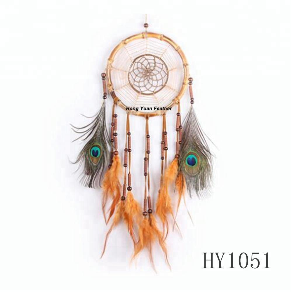 Оптовая продажа индийский ловец снов ручной работы с украшением из перьев