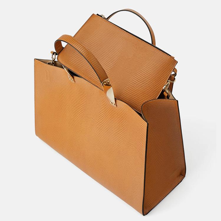 custom rectangular fashion classy ladies leather hand bag animal print tote handbag for women