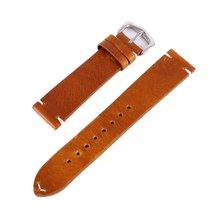 Ремешок для часов унисекс, кожаный, коричневый, черный, ручной работы, 18, 20, 22 мм(China)