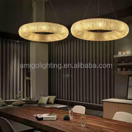 2021; Лидер продаж; Большие размеры кольцо в форме современная семья отеля led хрустальная люстра RP02-D80