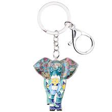 Женский брелок для ключей Bonsny, эмалированный брелок для ключей со слоном животного в джунглях(Китай)
