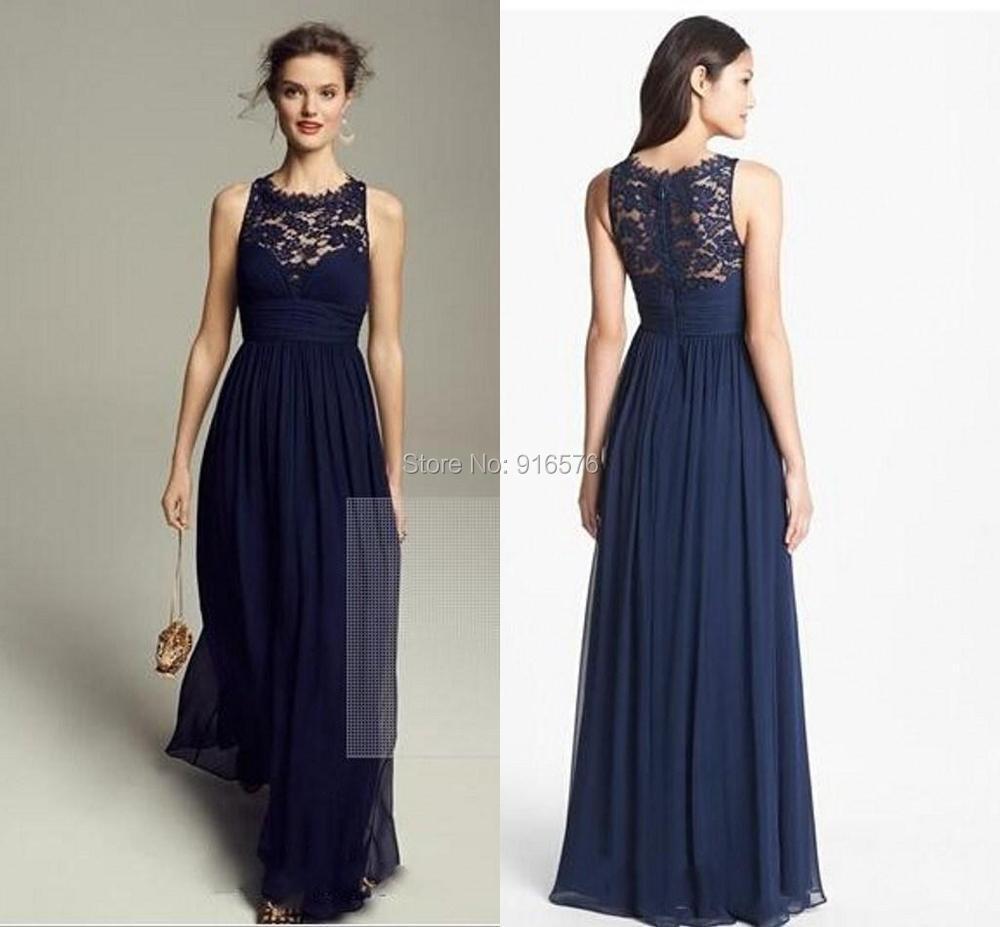 Lace Chiffon Bridesmaid Dresses Scoop neck Sleeveless ...