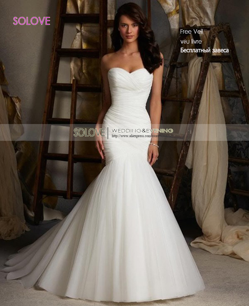 Discount Wedding Gowns: Cheap Elegant Mermaid Wedding Dress 2016 Sweetheart Bridal