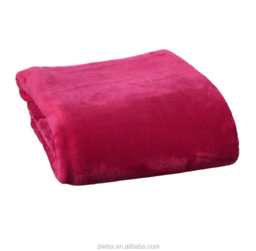 Pink Solid Color Fleece Blanket One Layer 100 Polyester