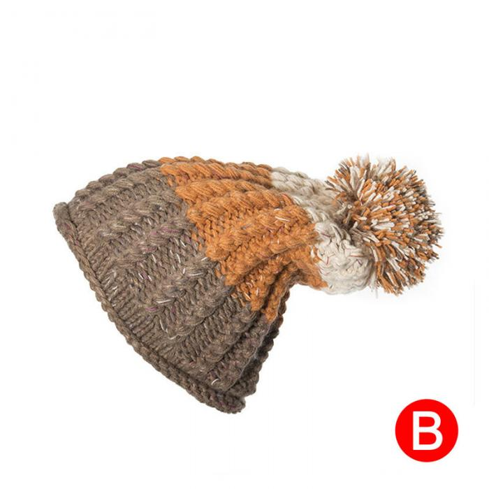 74f100c9be8ff6 2019 Women Girls Winter Warm Pom Poms Beanies Cap Thick Knitted ...