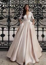 Скромное атласное свадебное платье с карманом Vestidos de Noiva, кружевное свадебное платье с коротким рукавом 2020, длина до пола, платье невесты цве...(Китай)
