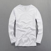 3c5da31c65111 Men s Tops Tees 2018 Summer New Cotton Linen V Neck Long Sleeve T Shirt  Fashion Trends